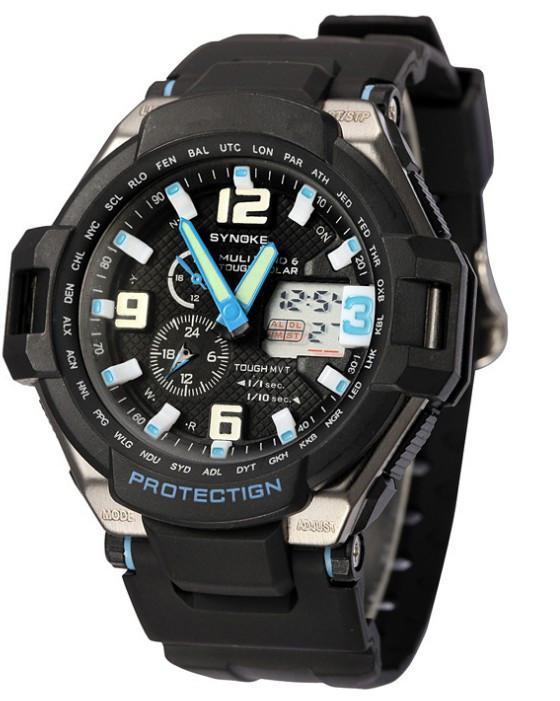 Sport Schwimmen Wasserdichte Uhren Dual Display Digital Led-armbanduhren Männer PU Band LED Nachtlicht Drop Freies Verschiffen