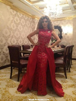 Wholesale Evening Crystal Sheath Jewel - New arrival unique 2016 Myriam Fares Dresses Glamorous Sexy ruched Red lace Pageant Gowns Evening dresses