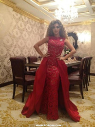 Wholesale Dress Fares - New arrival unique 2016 Myriam Fares Dresses Glamorous Sexy ruched Red lace Pageant Gowns Evening dresses