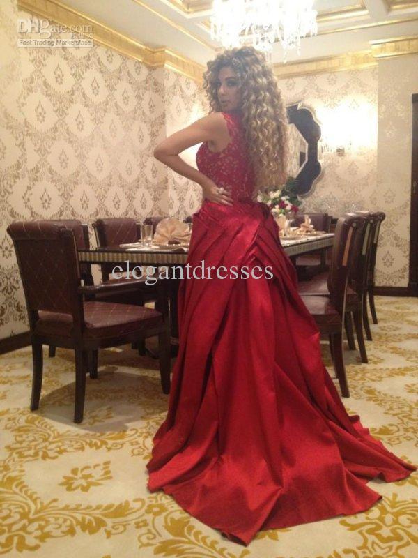 Neue Ankunft einzigartige 2016 Myriam Fares Kleider Glamorous Sexy geraffte rote Spitze Pageant Kleider Abendkleider