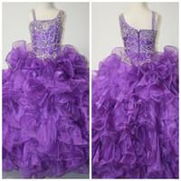 Wholesale Girls Pageant Dress Little Rosie - Gorgeous Dazzeling Beaded One Shoulder Long Purple Girls Formal Pageant Dress Gowns By Little Rosie LR914