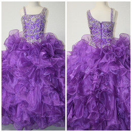Wholesale Girls Pageant Dress Little Rosie - Gorgeous Dazzeling Beaded One Shoulder Long Purple Girls Formal Pageant Dress Gowns By Little Rosie LR914