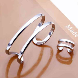 Wholesale 925 China Gold Earrings - 925 Sterling Silver plated Jewelry Sets Simple Open Circle, Bracelet, Cuff, Silver Open Rings S233