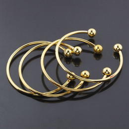 Wholesale Bracelet Screw Ends - 20pcs 65mm Gold SCREW END CUFF CHARM BRACELET BANGLE FIT HOLE BEADS,Ending Ball Screw Buckle Cuff Fit European Jewelry Findings