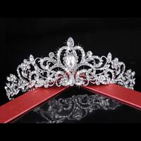 ücretsiz gönderim bedeni taçları toptan satış-Ücretsiz Kargo Yüksek Kalite Lüks Kristal Rhinestone Kaplama Saç Aksesuarı Şapkalar Düğün Gelin Tiara Pageant Taç