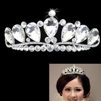 coronas de baile de calidad al por mayor-Envío de la alta calidad de cristal grande Rhinestone de lujo corona nupcial accesorio para el cabello baile de cabeza de la boda tiara