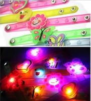 Wholesale Light Silicone Bracelets - NEW Children's LED flash lighting jelly glow bracelets cartoon wristband candy colors atmosphere props wristbands bracelet charm jewelry