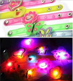 Wholesale Silicone Bracelet Light - NEW Children's LED flash lighting jelly glow bracelets cartoon wristband candy colors atmosphere props wristbands bracelet charm jewelry