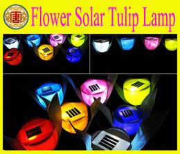 Wholesale Tulip Led Lights - Wholesale - Outdoor Garden Light Solar Powered LED Tulip Home Landscape Flower Lamp