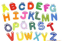 Wholesale Toddler Toy Magnets - Wholesale -Children Toys Retail Fridge Magnet Child Colorful 26 Letters shape Learning Wooden Magnetic Toddler -885G