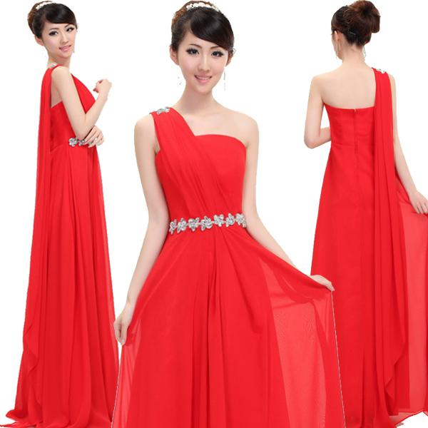 Red Long Maxi One Shoulder Evening Gown Dress Rhinestones Formal ...