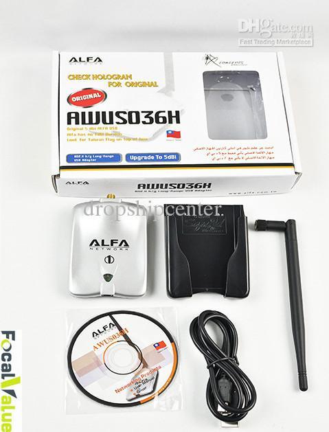 Original-Einzelhandelspaket mit Kartenfall 1000mw Alfa-Netzwerk Awus036h USB Wireless G n Wifi-Adapter-Adapter 5DBI Antenne RTL8187L RTL3070L DHL