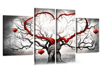 Wholesale Red Tree Wall Art - Hand-painted Hi-Q modern wall art home decorative abstract oil painting on canvas Light grey red love tree 4pcs set framed