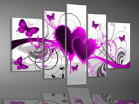 Wholesale Art Modern Oil Painting Purple - Hand-painted Hi-Q modern wall art picture home decor abstract oil painting on canvas Love heart Butterfly bright purple pink 5pcs set framed