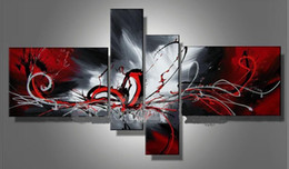 Wholesale Arts Panel - Hand-painted Hi-Q modern wall art home decorative abstract oil painting on canvas Passion colors rendering red 4pcs set framed