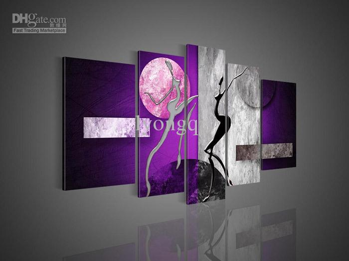 Purple Canvas Wall Art hand painted hi q modern wall art home decorative abstract oil