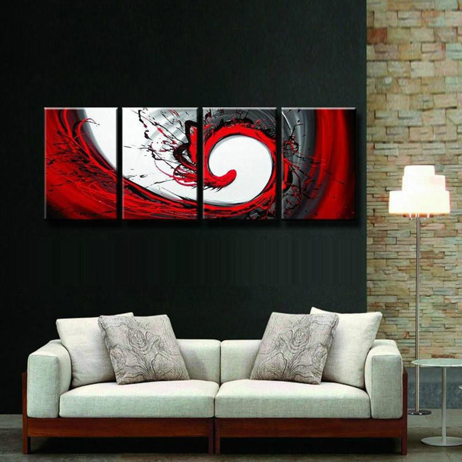 Best Quality Hand Painted Hi Q Modern Wall Art Home Decorative Abstract Oil  Painting On Canvas Red Dance Rendering Framed At Cheap Price, Online  Paintings ...