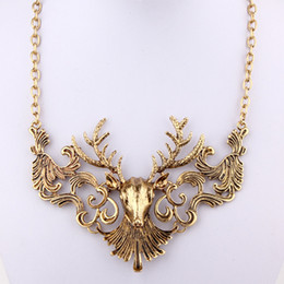 Wholesale Deer Choker - Free Shipping deer design metal Necklace Fashion vintage statement necklace Retro jewelry