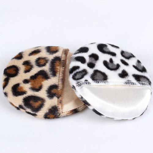 Cosmetic Puff Herramientas de maquillaje Cara y cuerpo en polvo Puff Black Brown leopardo en polvo Puffs 80mm