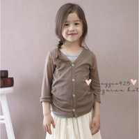 Wholesale Knit Shirt Children - Children Clothing Long Sleeve T Shirts Cotton Shirts Kids Casual Cardigan Girls Cute V-Neck Shirts Fashion Candy Color Shirt Knitted Coat