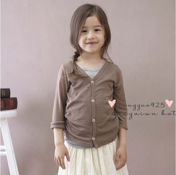 best selling Children Clothing Long Sleeve T Shirts Cotton Shirts Kids Casual Cardigan Girls Cute V-Neck Shirts Fashion Candy Color Shirt Knitted Coat