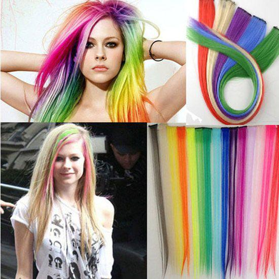 "New 24"" Long Solid Colored Colorful Clip On In Hair Extension Hightlight 19Color 24Pcs lot [CL0084(24)]"