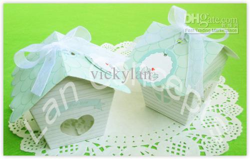 DIY Folding Cardboard Wedding Candy Box Party Favor Package with ribbon and hangtag - house shaped LWB0351