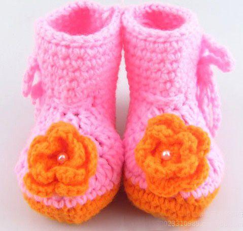 100 пар 2013 новый ручной работы крючком детские цветочные туфли дети вязать Обувь Обувь для младенцев пинетки 14Style