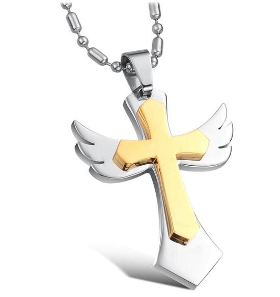 Titanium Steel Jewelry Gold Cross Necklace Men Jewelry Personalized