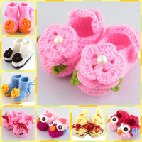 Wholesale Knitted Baby Booties Wholesale - 100pairs 2013 new handmade crochet baby flower shoes kids knit shoes footwear for babies Infant booties 14Style