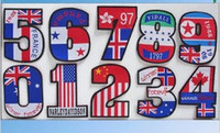 Wholesale Number Iron Applique - Wholesales 1 Set 10 Pieces~USA Flag Number (0-9) Kids Patch World Flag Embroidered Applique Iron On Patch