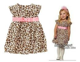 Argentina 4PCS Moda Baby Girls Vestido de leopardo de manga corta con cinturón de color rosa Niños Summer-Autumn One -Piece Vestido de Princesa Casual Ropa de niños Suministro