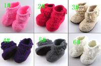 botines del bebé del ganchillo al por mayor-2016 nuevas botas de punto crochet botitas de bebé (0-12) M zapatos de niño botas de nieve de invierno 6 colores 6 pares / lote