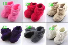 Wholesale Crochet Snow Boots - 2016 new knit boots crochet baby booties (0-12) M toddler shoes winter snow boots 6 colors 6 pairs lot