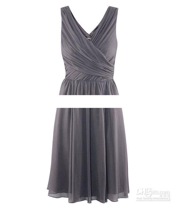 Real Sample knielangen A-Linie V-Ausschnitt Rüschen grau Chiffon Custom Made Brautjungfer Kleid