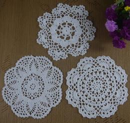 Wholesale Ecru Crochet Doily Mat - 30 PCS LOT Free shipping wholesale 100% cotton hand made Crochet Doily cup mat Whtie Ecru Custom Color crochet applique ab3h56