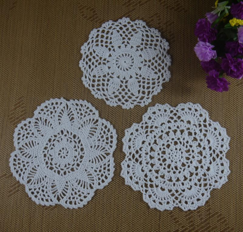 Free Shipping 30Piece Handmade Crochet Pattern Doily 3 Designs Cup Pad Mat Table  Cloth Coasters Round Dial 15 20cm Custom Colors
