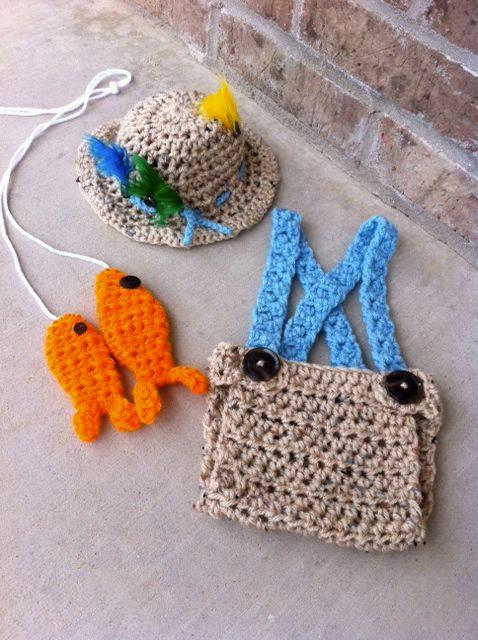 2019 Handmade Crochet Newborn Fishing Outfit Fly Fishing