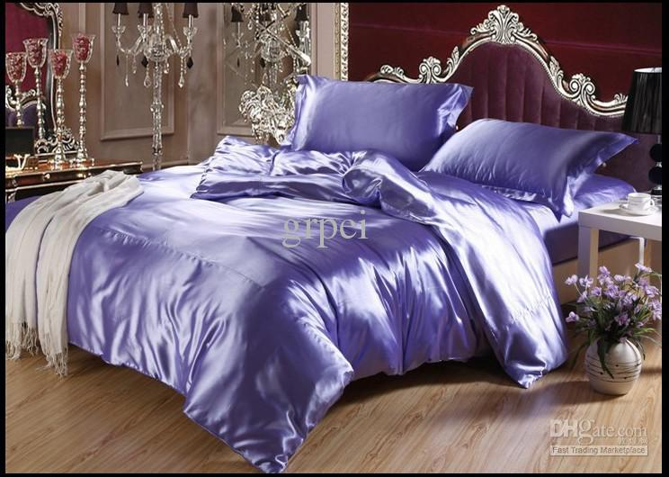 Well-liked Purple Blue Mulberry Silk Satin Bedding Set Luxury King Size Queen  MQ55
