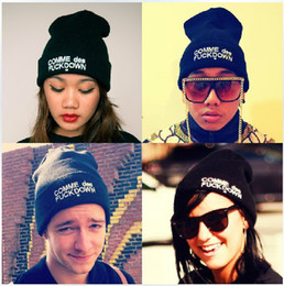 Wholesale Comme Des Fuckdown Black Beanie - Hot New Men and Women 30Pcs Retail SSUR COMME DES FUCKDOWN Popular Head Accessories Mixed Colors Good Quality Wool Caps Knitted Adults Hats
