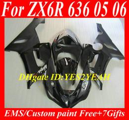Wholesale Kawasaki 636 Plastic Kit - ABS Plastic Fairing kit for KAWASAKI Ninja ZX6R 05 06 ZX 6R 2005 2006 ZX-6R 636 05-06 gloss&matte black Faiirngs body kit+7gifts Sw32