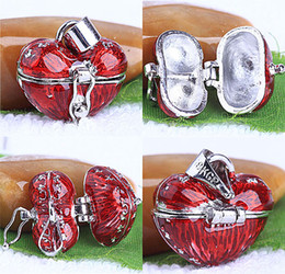 Wholesale Heart Locket Photo Frame Necklace - 30pcs Enamel Red Heart Prayer Wish Craft Photo Frame Locket Box Finding Fit Charms Necklace Pendant