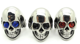 Wholesale Ruby Skull Ring - No MOQ Free shipping Cool Mens 316L Stainless Steel Ruby Black Blue Rhinestone Eyes Bald Head Skull Rings for male bikers