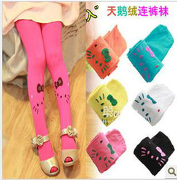 Wholesale Baby girl Pantyhose Cat Printing Pantyhose Socks Baby girls Velvet Candy color pantyhose girls pantyhose socks