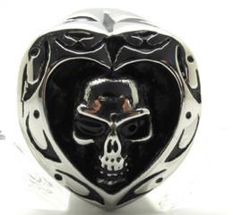 Wholesale poker shapes - New Gift Poker Spade Skull 316L Stainless Steel cool Skull Heart Shape Ring Guarantee 100%
