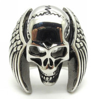 Wholesale Stainless Steel Winged Ring - Europe Style 316L Stainless Steel Eagle Wing Cool Skull Silver Ring Guarantee 100%