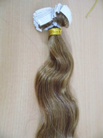 Wholesale Strong Pu Weft Tape - MIRACLE medium brown #8 wavy remy hair PU Skin Weft Tape in Hair Extensions 18 20 22 24 inch 100gram strong tape attached