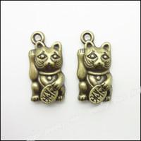 Wholesale Vintage Lucky Cats - Vintage Charms Lucky Cat 23x11mm Pendant Antique bronze Fit Bracelets Necklace DIY Jewelry 80pcs lot