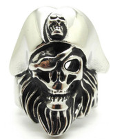 Wholesale Pirate Captain Ring - New Gift Mens 316L Stainless Steel Cool Pirate Captain Jack Skull Silver Ring Pirates of the Caribbean