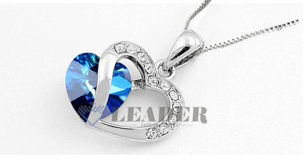 Yoursfs Jewelry Set Sapphire White GP Austria Crystal Heart Of Ocean Earring&Necklace Emerald Jewelry Sets S384W1 Perfect Gift for Women